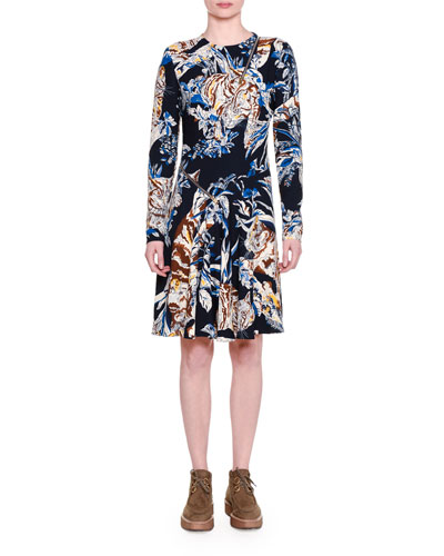 Long-Sleeve Cat-Print A-Line Dress, Ink