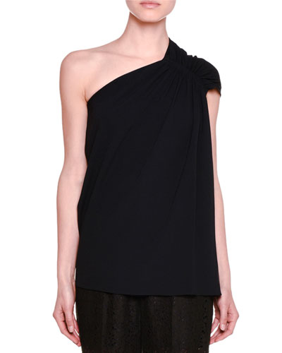 Gathered One-Shoulder Top, Black