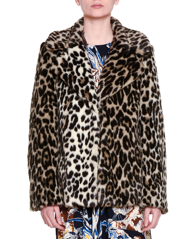 Fur-Free-Fur Leopard-Print Chubby Coat