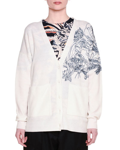 V-Neck Button-Front Cat-Embroidered Cardigan, Gesso