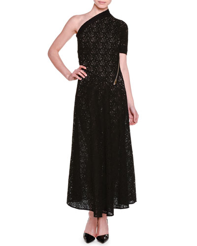 One-Shoulder Floral-Lace Lined Gown, Black