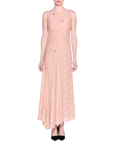 Sleeveless Asymmetric-Zip Floral Lace Gown, Rose