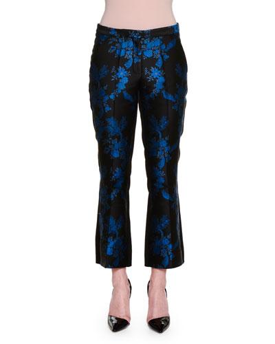 Floral-Print Cropped Flare-Leg Pants, Black