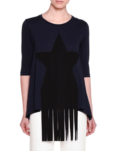 Half-Sleeve Star-Patch T-Shirt W/Fringe, Ink