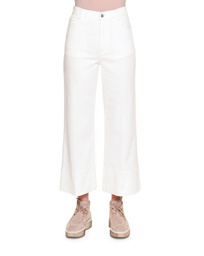 High-Waist Culotte Jeans, Pure White