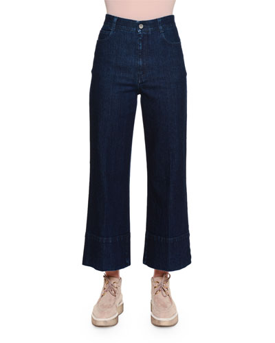 High-Waist Culotte Jeans, Dark Blue
