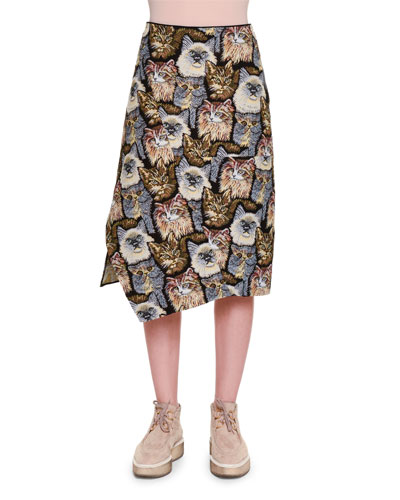 Cat-Embroidered A-Line Skirt, Black