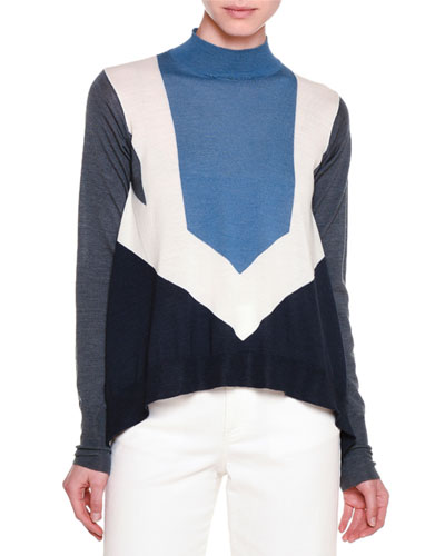 Mock-Neck Graphic-Striped Sweater, Gesso/Blue/Gray/Ink