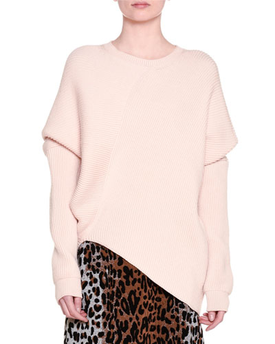 Ribbed Asymmetric-Hem Sweater, Powder
