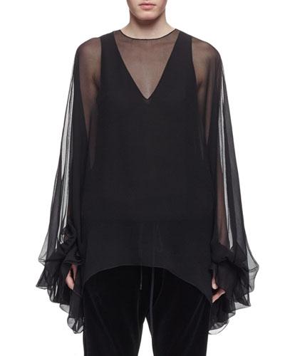 Balloon-Sleeve Sheer Silk Tent Blouse, Black