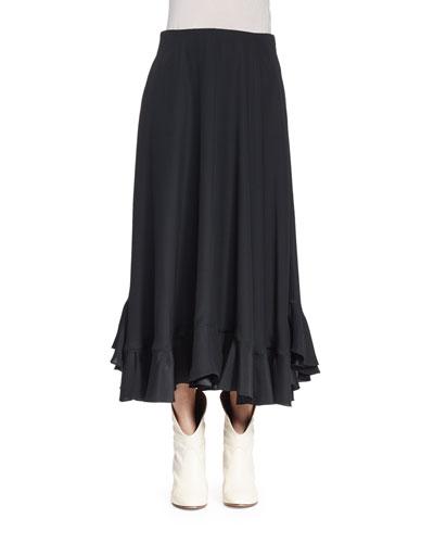 Flounce-Hem Midi Skirt, Black