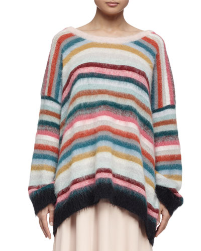 Striped Mohair-Blend Oversized Sweater, Pastel/Multi