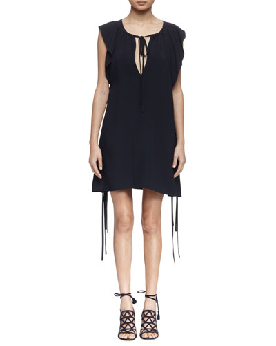 Flutter-Sleeve Tie-Neck Dress, Navy