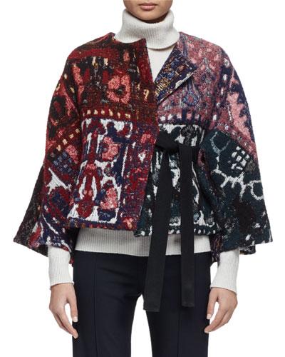 3/4-Sleeve Jacquard Jacket, Multi Colors