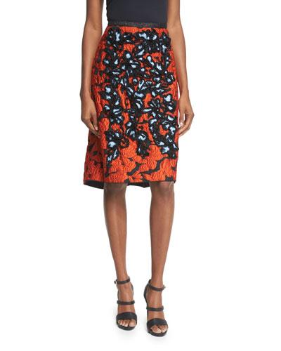 Embellished High-Waist Skirt, Black