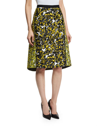 Floral-Print Structured A-Line Skirt, Citron/Black