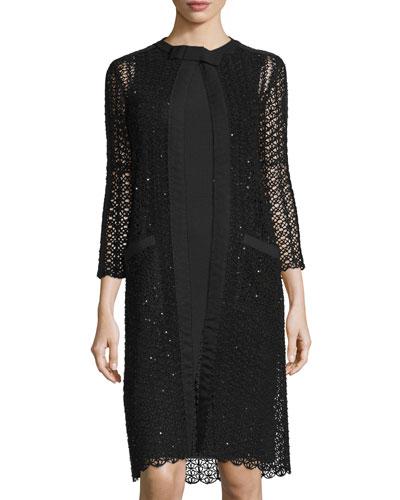 3/4-Sleeve Open-Knit Coat, Black