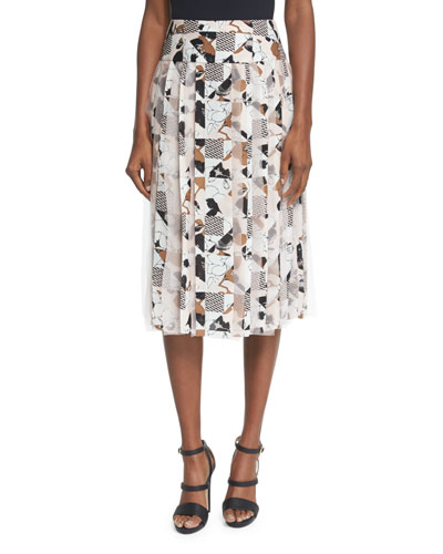Mixed-Print Pleated Skirt, Soft Petal