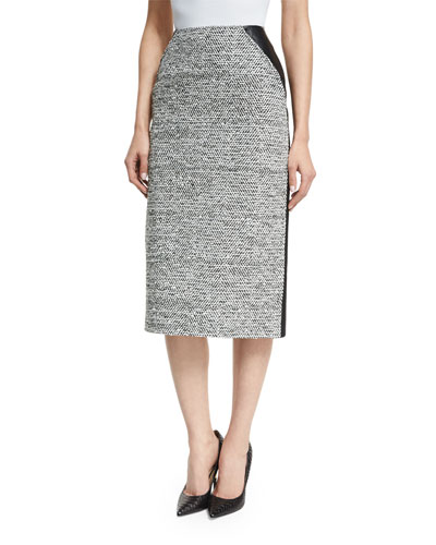 High-Waist Tweed/Leather Pencil Skirt, Black/Ivory