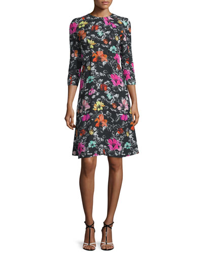 3/4-Sleeve Poppy-Print Dress, Black/Multi