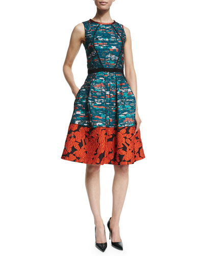 Mixed-Media Fit-&-Flare Dress, Teal/Poppy