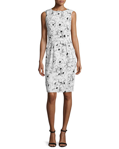 Sleeveless Floral-Print Sheath Dress, Black/White Floral