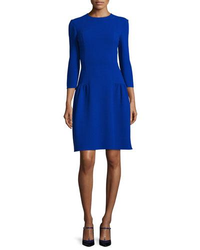 3/4-Sleeve Dropped-Waist Dress, Ultra Marine