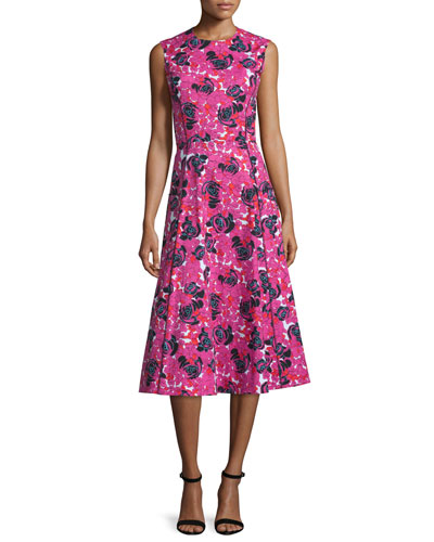 Sleeveless Floral-Print Midi Dress, Fuchsia