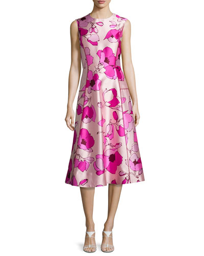 Sleeveless Flower-Print A-Line Dress, Soft Petal