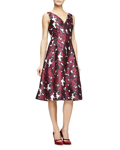 V-Neck Floral-Print Fit-&-Flare Dress, Bordeaux