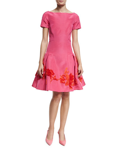 Short-Sleeve Embroidered Cocktail Dress, Guava