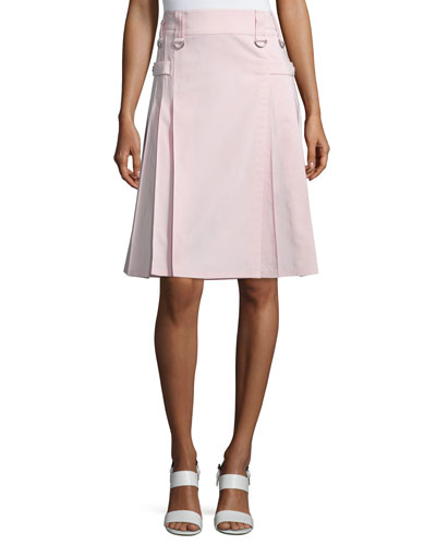 Utility Pleated Kilt-Style Skirt, Blush