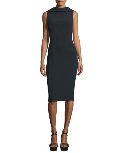 Sleeveless Folded-Collar Sheath Dress, Black
