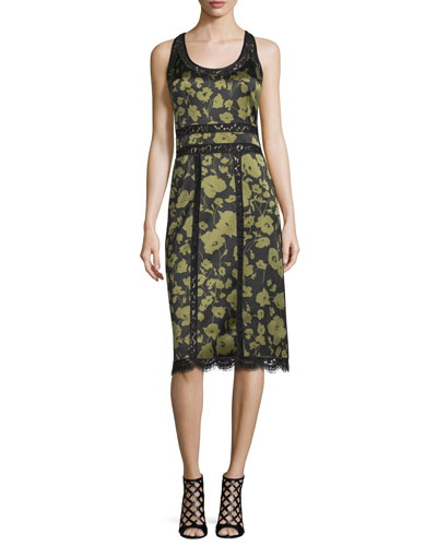 Lace-Inset Floraflage-Print Tank Dress, Black/Army