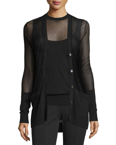 Button-Front Sheer Cardigan, Black