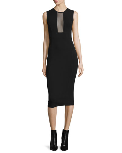 Sleeveless Mesh-Inset Midi Dress, Black