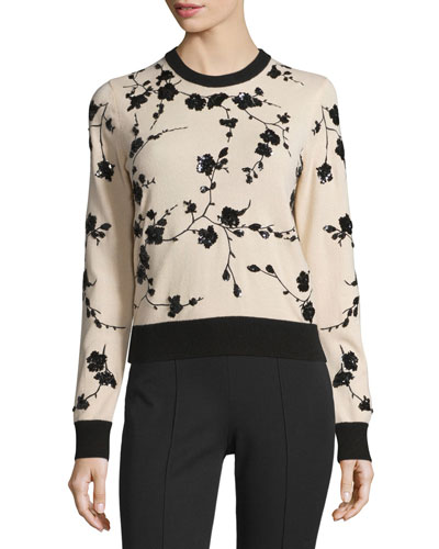 Long-Sleeve Embellished Cashmere Sweater, Nude