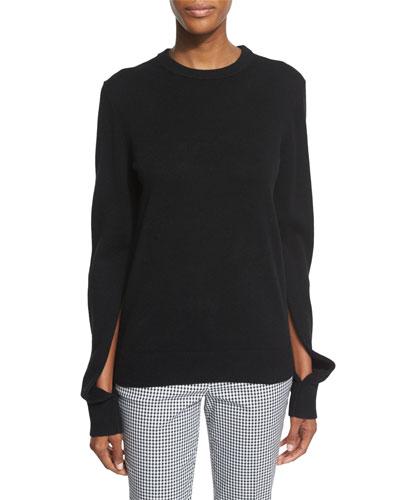 Slit-Sleeve Crewneck Cashmere Sweater, Black