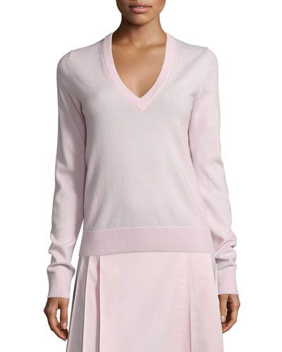 V-Neck Slash-Back Cashmere Sweater, Blush