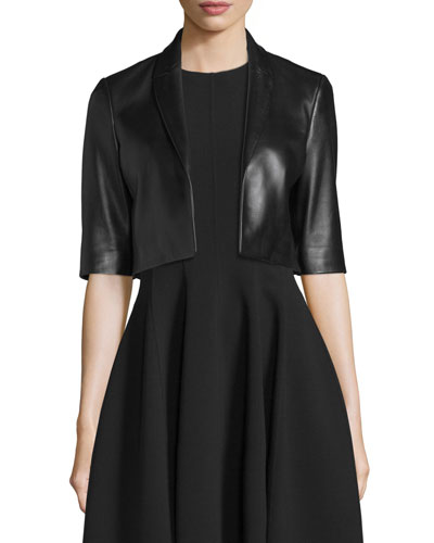 Half-Sleeve Cropped Leather Jacket, Black