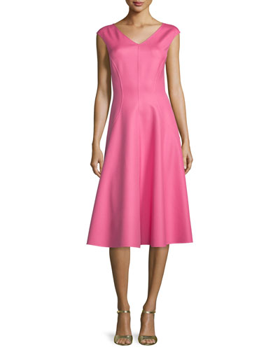 Cap-Sleeve Seamed Dress, Peony