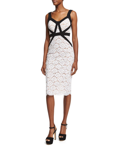 Gardenia Lace Sheath Dress W/Contrast Trim, Optic White