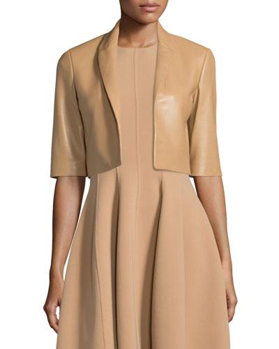 Half-Sleeve Cropped Leather Jacket, Suntan