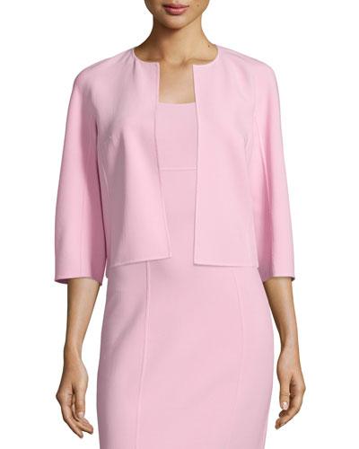 3/4-Sleeve Open-Front Jacket, Ballerina