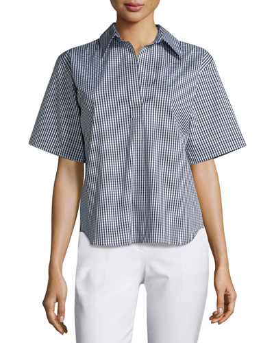 Short-Sleeve Gingham-Print Pullover Top, Black/Off White