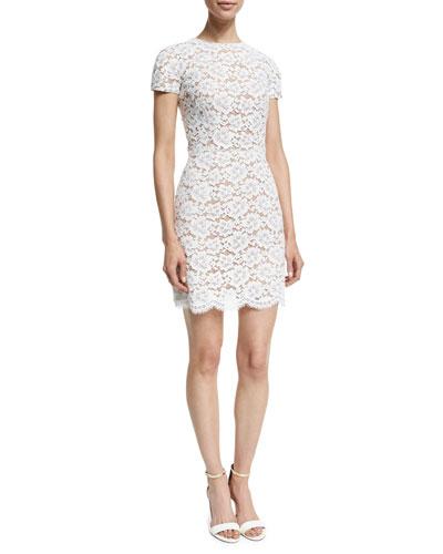 Short-Sleeve Gardenia-Lace Mini Dress, Optic White