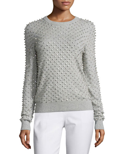 Rhinestone-Embellished Cashmere Sweater, Pearl/Gray