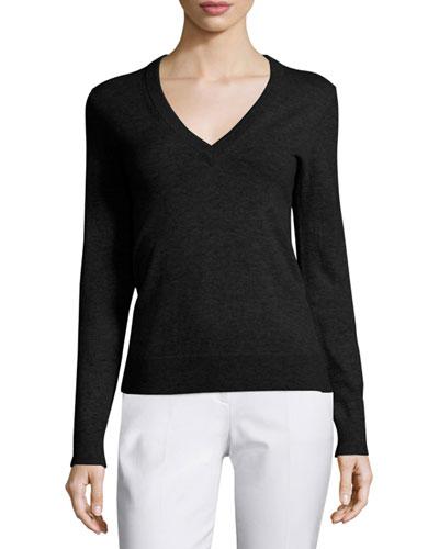 V-Neck Slash-Back Cashmere Sweater, Black