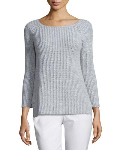 Round-Neck Shaker Sweater, Pearl/Gray