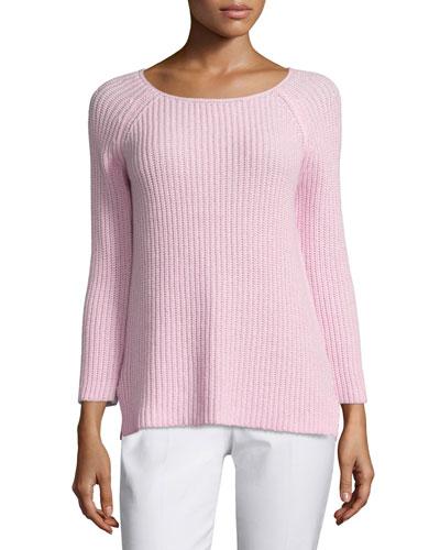 Round-Neck Shaker Sweater, Ballerina